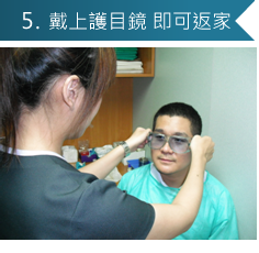5.戴上護目鏡 即可返家(隔天就能正常作息,駕車、上班)